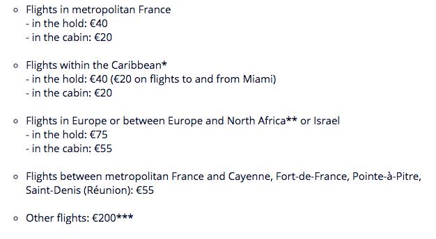 air france rates