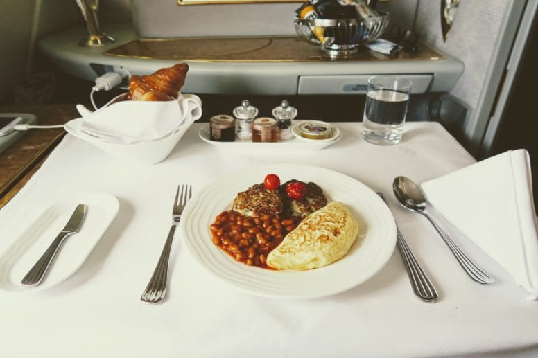 emirates first class dining breakfast