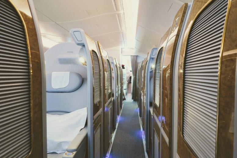 emirates first class suite sliding doors