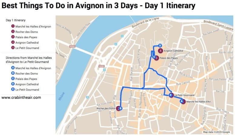 Avignon Map - day 1 Itinerary