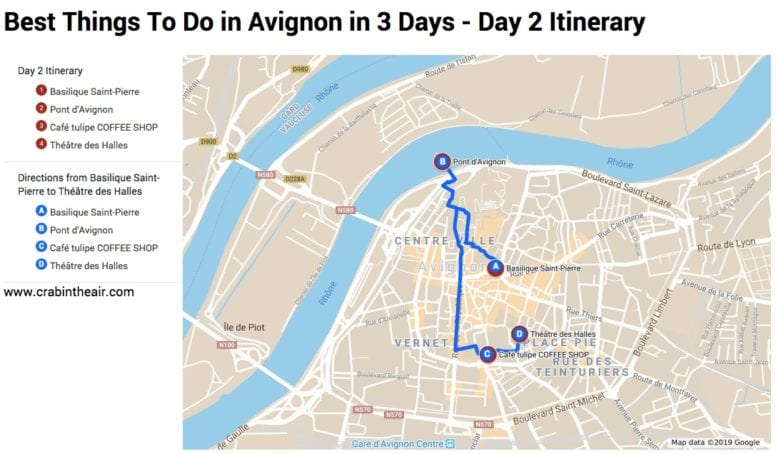 Avignon Map - day 2 Itinerary