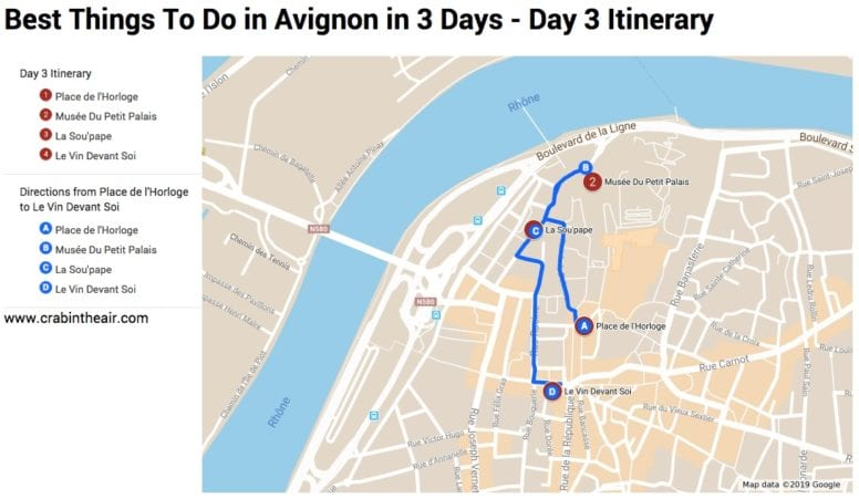 Avignon Map - day 3 Itinerary